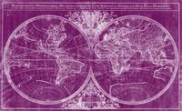 World Map (1691) Purple & White