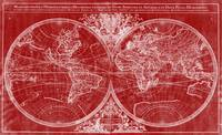 World Map (1691) Red & White