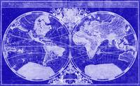 World Map (1691) Blue & White