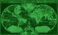 World Map (1691) Dark Green & Green