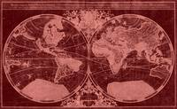 World Map (1691) Red & Light Red