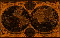 World Map (1730) Black & Orange