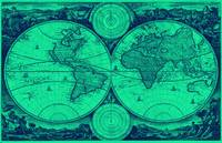 World Map (1730) Light Green & Blue