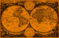 World Map (1730) Orange & Black