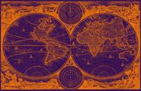 World Map (1730) Purple & Orange