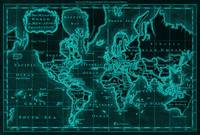 World Map (1766) Black & Light Blue