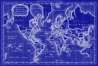 World Map (1766) Blue & White