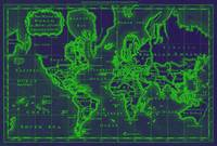 World Map (1766) Dark Blue & Green