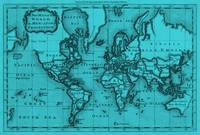 World Map (1766) Light Blue & Black