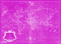 World Map (1778) Pink & White