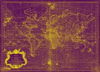 World Map (1778) Purple & Yellow
