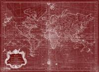 World Map (1778) Red & White
