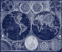World Map (1794) Blue & White