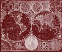 World Map (1794) Dark Red & White