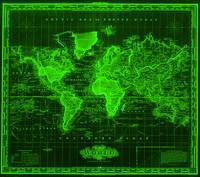 Vintage Map of The World (1833) Black & Green