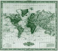 Vintage Map of The World (1833) White & Green