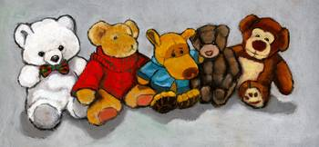 Teddy Bears and Stuffed Animals: Oil Pastel