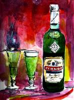 Absinthe for Two Pernod Bottle Watercolor Painting