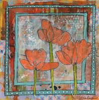 orange poppy flower art