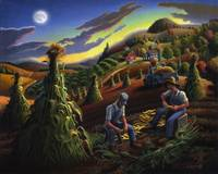 Farmer Shucking CornFolk Art Appalachian Landscape