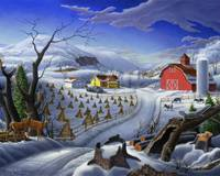Folk Art Winter Deer Appalachian Country Landscape