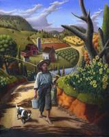 Boy Dog Rural Country Farm Folk Art Landscape