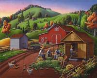 Farmers Shuck Corn Folk Art Farm Fall Landcape