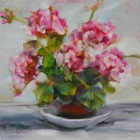 Petite Pink Geraniums by Beth Charles