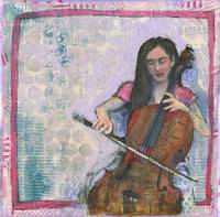 The Cellist | cello art | mixed media collage
