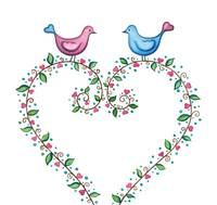 Love Birds with floral wreath