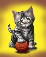 Kitten Cat Playing With Ball Of Yarn Art