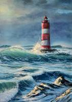 Lighthouse in the stormy sea