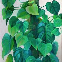 Hearts of Philodendron Painting by Karen Adams
