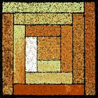 Golden Patchwork Quilt Square by Karen Adams