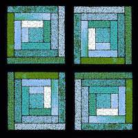Blue Green Quilt Squares by Karen Adams
