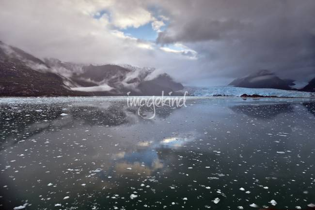 Amalia Glacier with fjord and clouds