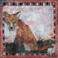 Fox Art | Mixed Media collage | Dandelion Wishes