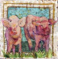 pig painting | mixed media collage art | Pen Pals