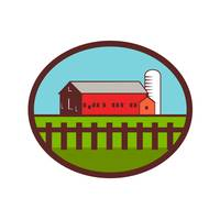 Farm Barn House Silo Oval Retro