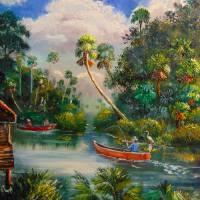 Dorsal Fishing Post St Lucie River Stuart Florida Art Prints & Posters by Mazz Original Paintings