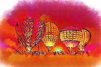 Hot Air Balloons In Red by Kirt Tisdale