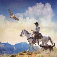 cowboy with dog and hawk by r christopher vest