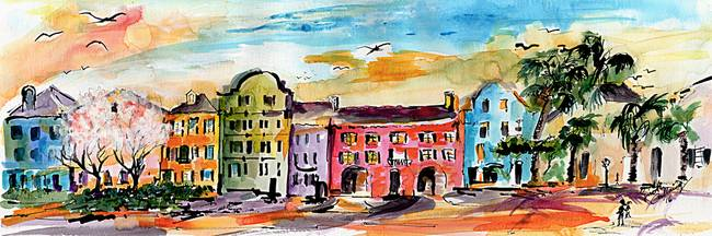 f5932c551f2 Charleston Rainbow Row Watercolor and Ink by Ginette Callaway