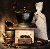 Still life with Antique coffee grinder