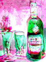Absinthe Watercolor with Digital Spanking