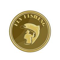 Fly Fishing Gold Coin Retro