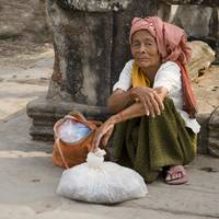 Old Woman At Angkor Wat