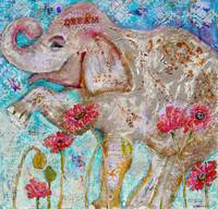 elephant art | mixed media | Elephant Dreams