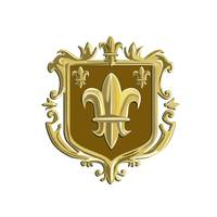 Fleur de lis Coat of Arms Gold Crest Retro