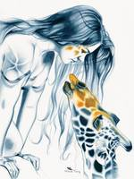 Giraffe Totem by Michelle Tracey Fantasy Art